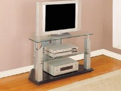 Cheap Black TV Stand with Glossy Silver Frame & Tempered Glass (B0017LUGQY)