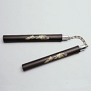 8 inch BLACK Practice Ball Bearing Foam Karate Nunchaku with Gold Dragon