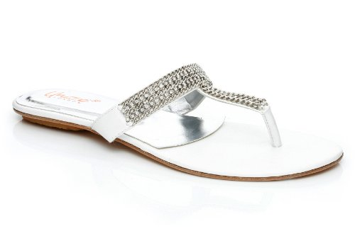 Image of Unze Women Silver Tone Jeweled Thong Flat Summer Party, Evening, Wedding Slipper - S-111 (B005903HEM)