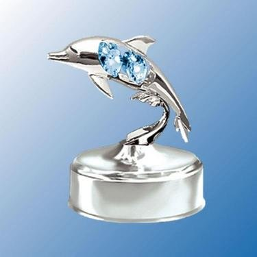 Chrome Dolphin Music Box with Blue Swarovski Crystal