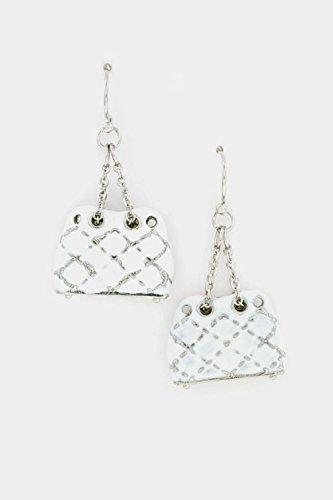 Glitz Finery Hand Bag Dangle Earring (Rhodium/White) front-198764