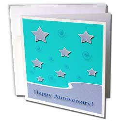 Beverly Turner Employee Anniversary - Lavender Stars on Aqua Blue Happy Anniversary - Greeting Cards-12 Greeting Cards with envelopes