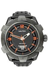 Nautica 3-Hand Perforated Leather Strap Black Dial Men's Watch #N28001G