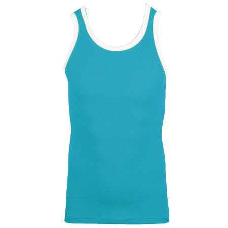 Raiken Basic Ribbed Slim Fit Sleveless Vest Top T-Shirt Mens Size S - Royal