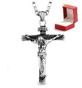 Stainless Steel Jesus Christ Crucifix Cross Mens Pendant Necklace