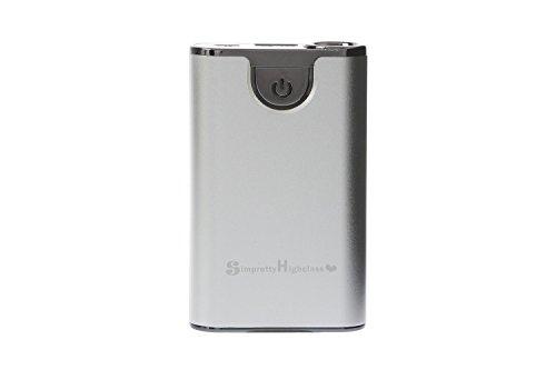 正規輸入品 SimPrettyHighClass 世界最小クラス 大容量モバイルバッテリー 超高品質!10000mAh (市販の20000mAh相当) ハイパワー/ iPhone5S 5C 5 4S 4 / iPad Mini Retina / iPod / Galaxy Xperia Nexus5 Android / 各種スマホ / Wi-Fiルーター等対応 大容量&コンパクト 90mm×55mm×20mm (日本語説明書付き) 緊急時・外出時の充電切れに nosmartphone スマートフォン充電に 超強力150ルーメン相当ライト付 防災 停電対策にも silver シルバ 銀色