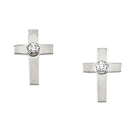 14K White Gold Diamond Stud Cross Earrings - 7 x 5mm
