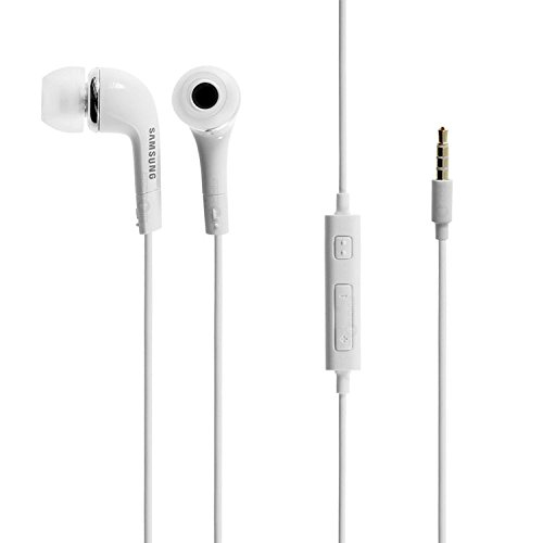Samsung OEM 3.5mm Stereo Headset Earbuds with Mic for Galaxy S5, S4, S3, Note 3- Non-Retail Packaging - White (2 Pack)