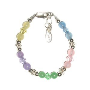 Tiffany Sterling Silver Childrens Girls Bracelet Jewelry Sparking and shiny multi-colored genuine jade stones with beautiful Czech crystals! Size Small Baby Infant 0-12 months
