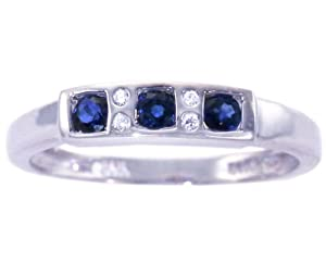 14K White Gold Petite Round Gemstone and Diamond Anniversary Band-Blue Sapphire, size6