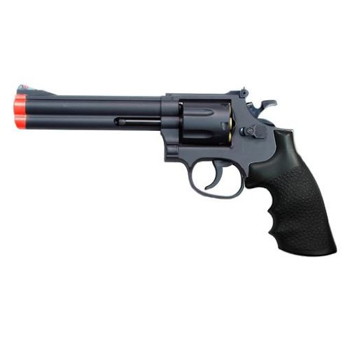 TSD SPORTS UA934B Airsoft Black Barrel Spring Revolver, 6-Inch (Black Grip)
