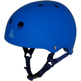 Triple 8 Brainsaver Rubber Helmet with Sweatsaver Liner (Royal Blue Rubber, Medium)