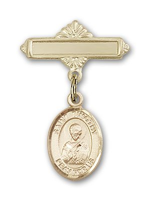 Gold Filled Baby Badge with St. Timothy Charm and Polished Badge Pin St. Timothy is the Patron Saint of Stomach Disorders