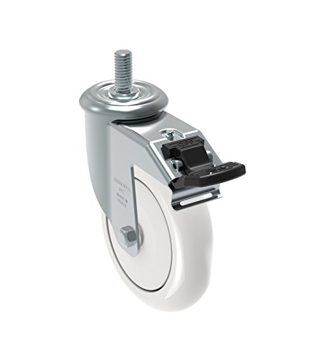 Schioppa GLEEF 512 NTE G L12 Series 5″ x 1-1/4″ Diameter Swivel Caster with Total Lock Brake, Non-Marking Nylon Precision Ball Bearing Wheel, 3/8″ Diameter x 1-1/2″ Length Threaded Stem, 375 lb