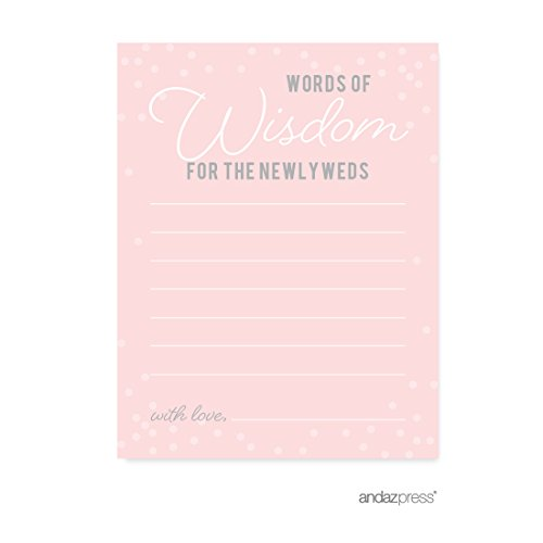 Andaz Press Pink Blush and Gray Pop Fizz Clink Wedding Collection, Blank Words of Wisdom Newlywed Advice Cards, 20-Pack