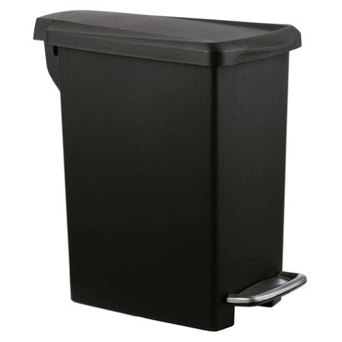 simplehuman Slim Step Trash Can, Black Plastic, 10L / 2.6 Gal (Big Kitchen Trash Can compare prices)