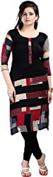 INDIA FASHION SHOP BLACK RED CREAM PRINTED COTTON KURTI