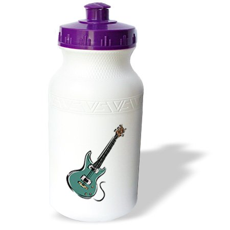 Wb_164413_1 Susans Zoo Crew Music - Teal Electric Guitar Music Graphic - Water Bottles