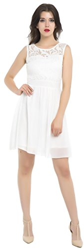 Xuerry Women Sleeveless Bodycon Lace Chiffon Cocktail Party Prom Dresses (XL, Net_Lace_White)