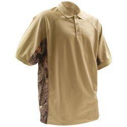 BUCK HORN RIVER Large Pique Polo Shirt with Camo Trim Dune BRKS-52159DL