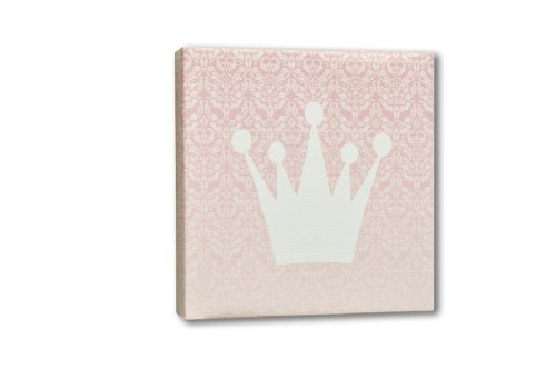 Homeworks Etc Crown Canvas Wall Art, Pink/White