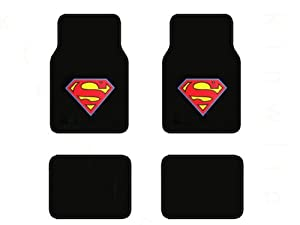 A Set of 4 Universal Fit Plush Carpet Floor Mats for Cars / Trucks - Superman... at Gotham City Store