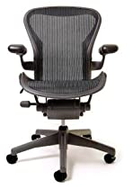Hot Sale Herman Miller Aeron Home Office Basic Chair - Size B Medium Graphite Frame, Classic Carbon