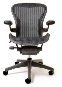 Aeron Chair - Basic by Herman Miller - Graphite Frame - Carbon Classic Size A (Small)