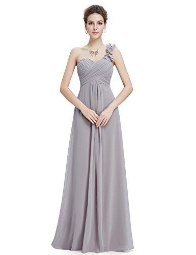 Ever Pretty Womens One Shoulder Long Chiffon Bridesmaid Dress 6 US Grey