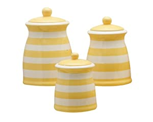 Terramoto Ceramic 3-Piece Stripes Canister Set, Yellow