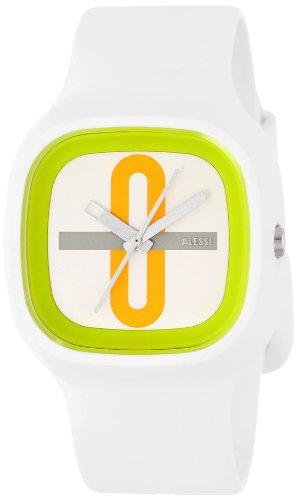 Alessi AL10021 - Reloj analógico automático unisex con correa de plástico, color blanco