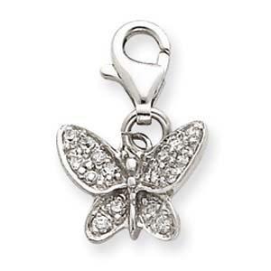 PriceRock Sterling Silver CZ Butterfly Charm