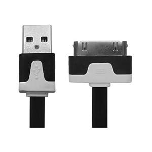 Cable plat transfer de données chargeur rapide usb pour iPhone 4, 4S, 3, 3G, 3GS / iPod Touch / iPad 1,2,(Noir)
