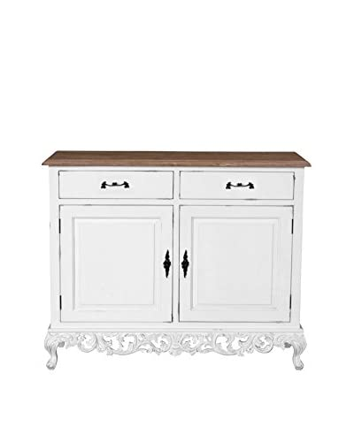 Jeffan Baroque Cabinet With 2-Doors & 2-Drawers, White