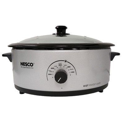 Nesco, 4816-47, Roaster Oven with Porcelain Cookwell, 6 Quart, Silver/Black