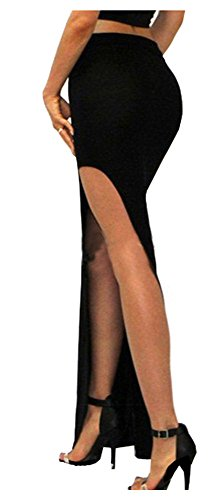 SACASUSA (TM) Sexy Fashion High Waist Long Skirt w/ Slit S ~ M in Black (Sexy Long Skirts)