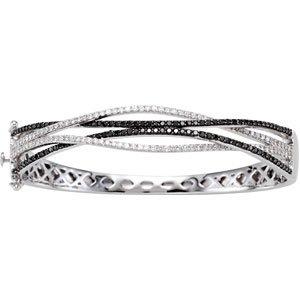 14k White Gold Black and White Rough Diamond Bangle Bracelet 2ct - JewelryWeb