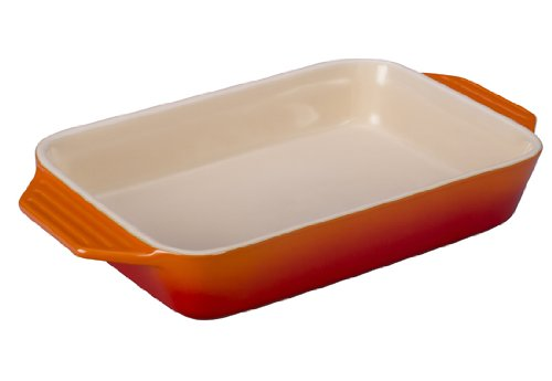 Le Creuset Stoneware Rectangular Dish, 12.5 By 8.25-Inch, Flame