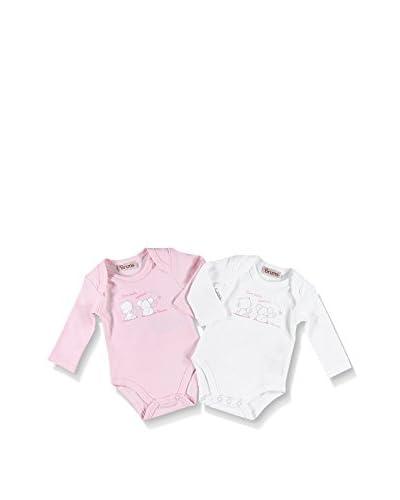 BRUMS Set 2 Pezzi Body Intimo [Bianco/Rosa]