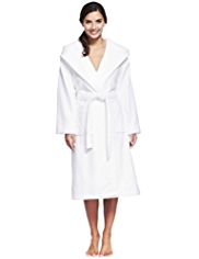 Hooded Shawl Collar Cosy Towelling Belted Dressing Gown