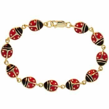 18k Gold over Sterling Silver Black and Red Enamel Ladybug Bracelet