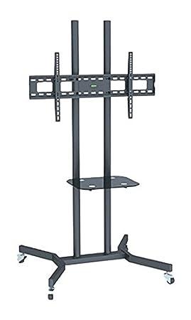 Arkas ATS40 mobiler Standfuß 80-165 cm (32-65 Zoll) Höhe verstellbar Vesa (100 x 200 bis 600 x 400) Standard fur LCD/LED/Plasma Fernseher schwarz