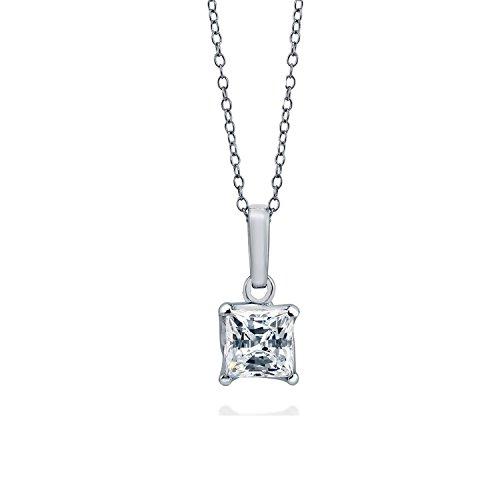 [ジュエリーキャッスル] Jewelry Castle ネックレス 1.25カラット プリンセスカット スワロフスキージルコニア スイングタイプネックレス CZダイヤモンド