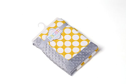 Bacati - Dots/pin Stripes Grey/yellow Blanket
