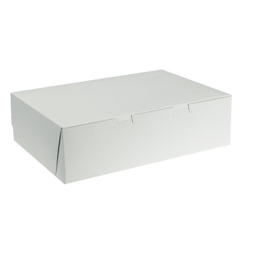 "Southern Champion Tray 1029 Premium Clay Coated Kraft Paperboard White Non-Window Cake Box 19"" Length x 14"" Width x 4"" Height, 1/2 Sheet, Lock Corner, 1 Piece  (Case of 50)"