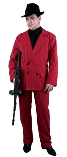 Men's Red and Black Gangster Suit Costume