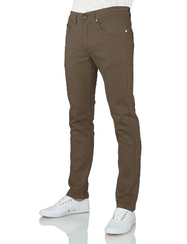IDARBI Mens Basic Casual Colored Skinny Cotton Twill Pants TAUPE 30/32