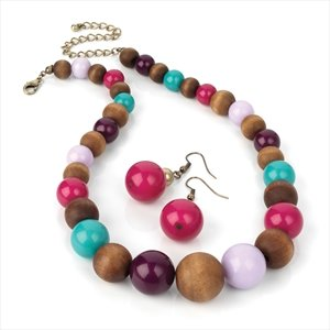 Ladies Stylish Modern Design Multi Bead Wood Look Set Brand New