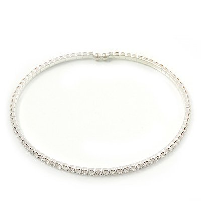 Thin Swarovski Crystal Flex Choker Necklace In Rhodium Plating - Adjustable