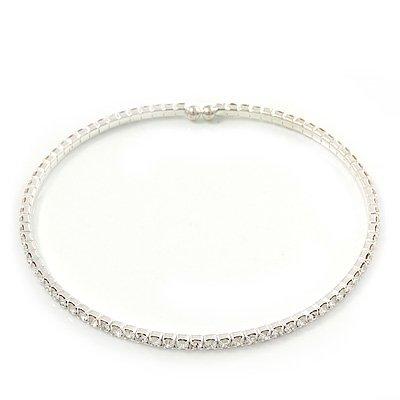 Thin Swarovski Crystal Flex Choker Necklace In Rhodium Plating - Adjustable